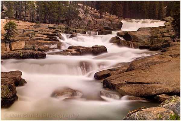 Tuolumne River cascades over granite.