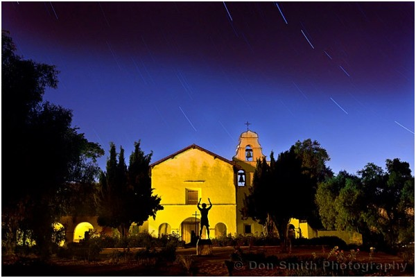Star trails over Mission San Juan Baustista