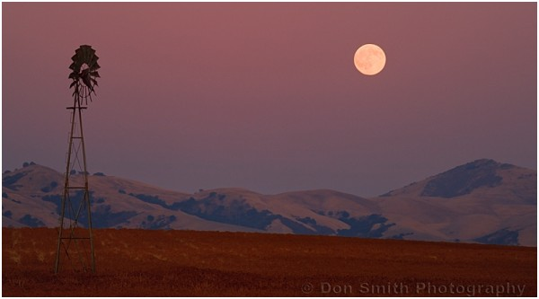 A full moon rises in a rural part of California.