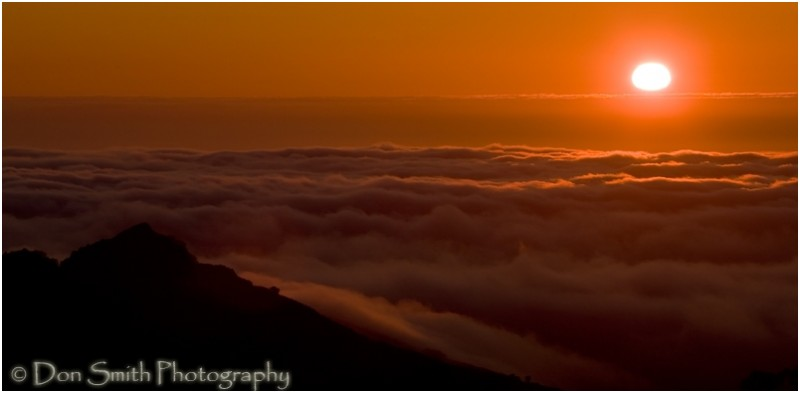 Sun Setting Into a Sea of Fog