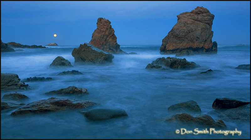 big sur, ocean, garrapata, moon set