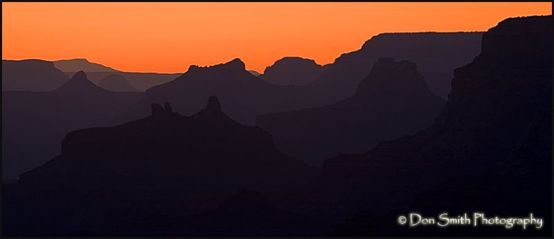 Dusk along the south rim of the Grand Canyon