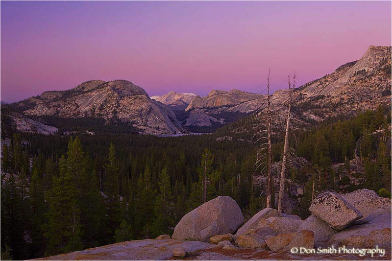 Twilight hues over Lake Tenaya, Yosemite.