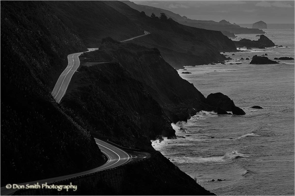 Highway 1 winds along headlands of Big Sur coast.