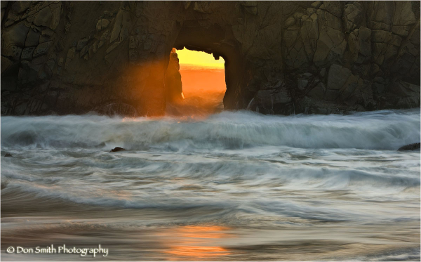 Last light of the day through Pfeiffer Arch.