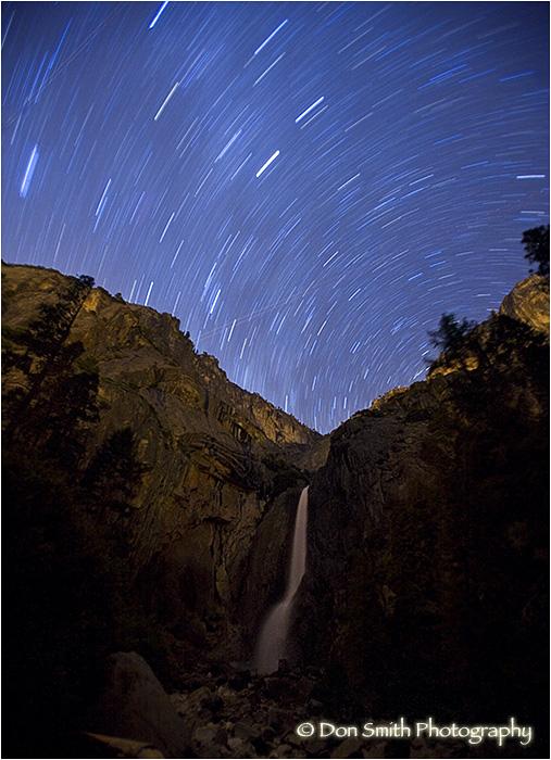 Star trails over upper Yosemite Falls