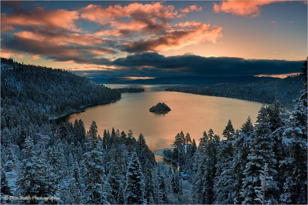 Dawn sky over Emerald Bay, Lake Tahoe.