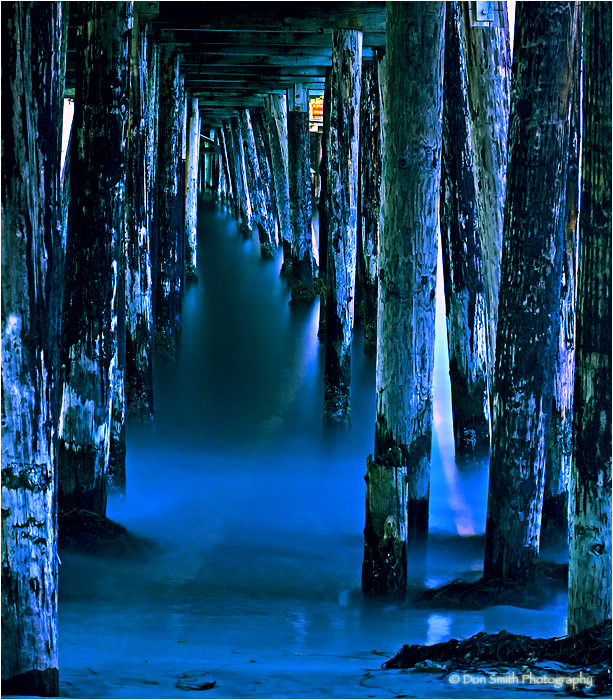 Night image under Capitola Wharf.