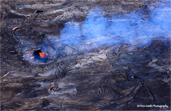Aerial view of Kilauea lava skylight, Hawaii.