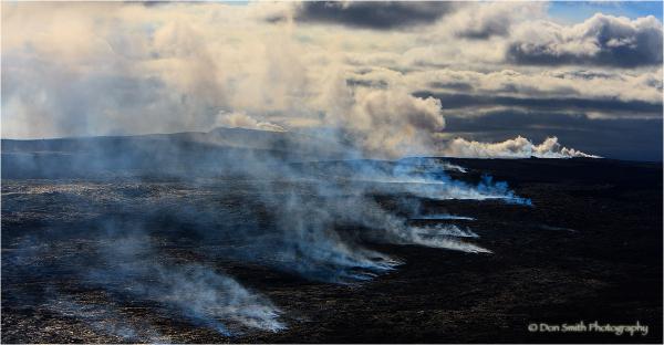 Destruction path of Kilauea lava, Hawaii.