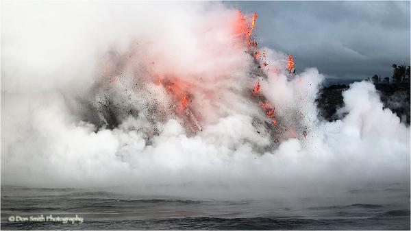 Lava tube explosions, Big Island, Hawaii.