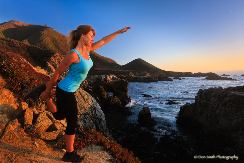 Fit trainer Mary Margaret Lanning jogs in Big Sur.