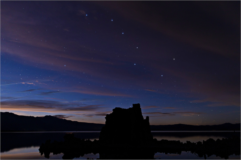 Big Dipper hangs ocer tufa tower at Mono Lake.