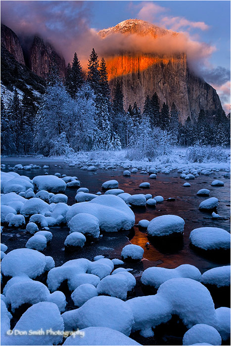 Winter's alpenglow on El Capitan at Valley View.
