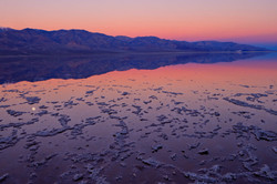 Moonset at dawn, Badwater, Death Valley.