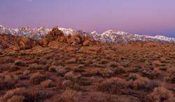 Dawn moonset over Sierra Crest.