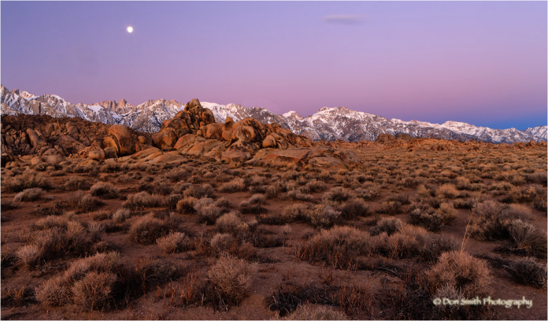 Dawn moonset over Sierra Crest.