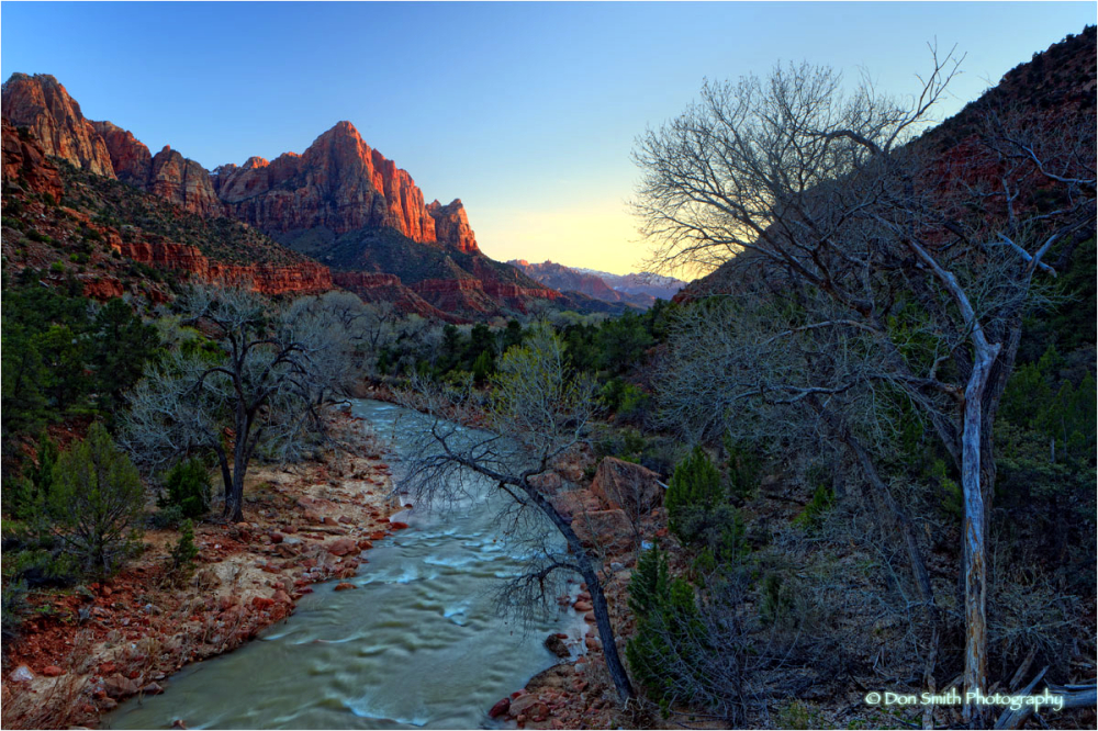 Last light on The Watchman, Zion NP, Utah.