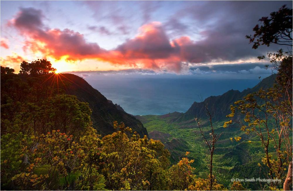 Sunset over Kalalau Valley, Kauai.