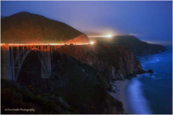 Foggy Big Sur evening near Bixby Bridge.