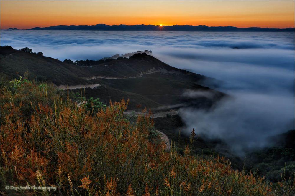 Sunrise over fog, Santa Clara Valley, Ca.