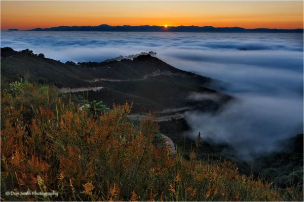 Sunrise over fog, Santa Clara Valley, Ca.
