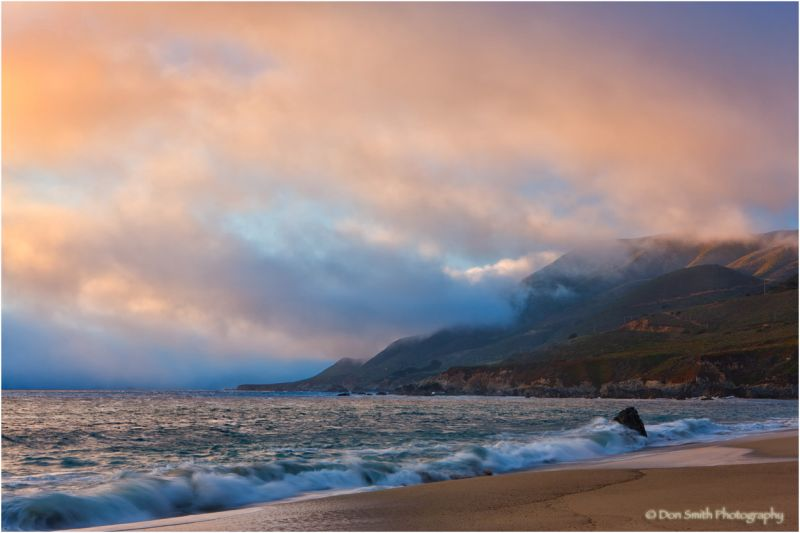 Summer sunset and fog at Garrapata State Park.
