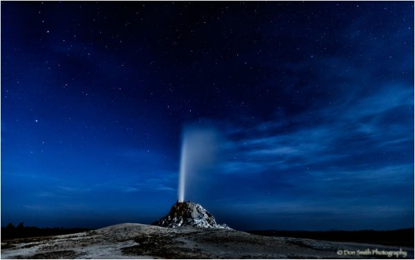 Night eruption, White Cone Geyser, Yellowstone, NP