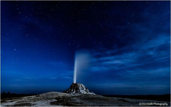 Night eruption, White Cone Geyser, Yellowstone, NP