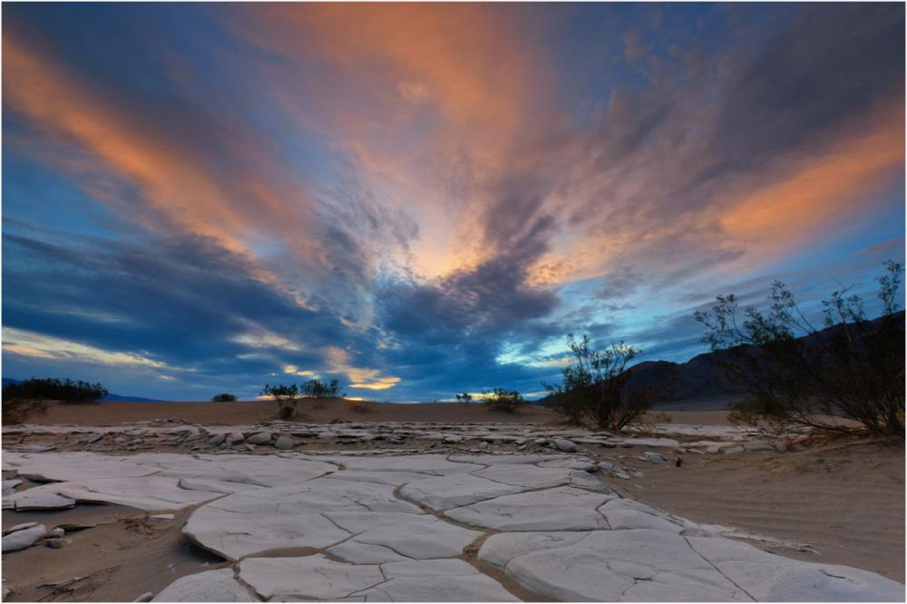 Dawn light over mud cracks, Mesquite Dunes