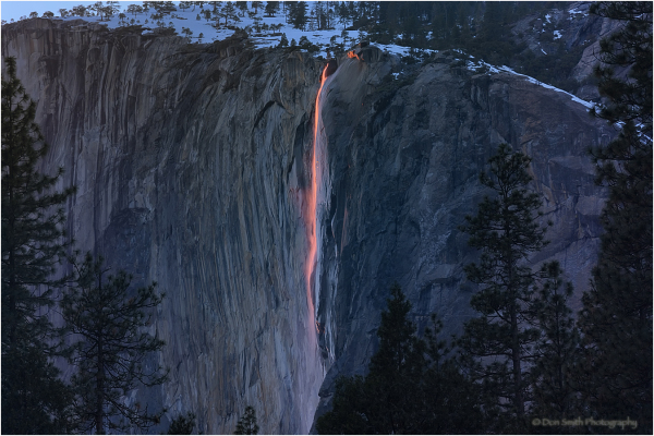Red lava light on Horsetail Fall, Yosmeite NP.