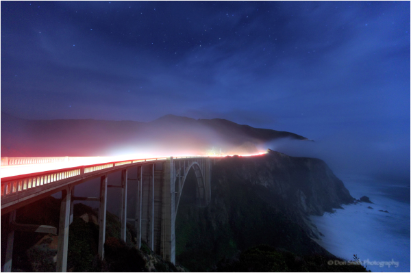 Big Sur's Bixby Bridge under the stars and fog.