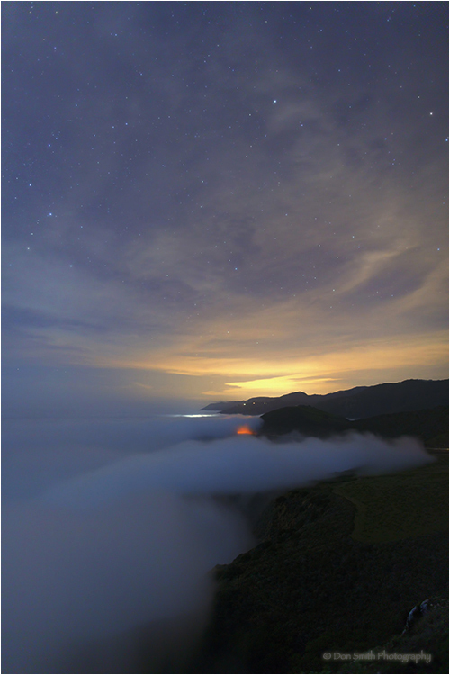 Big Sur coast under night sky from Hurrincane Poin