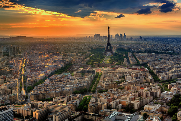 Paris and Eiffel Tower at Sunset.