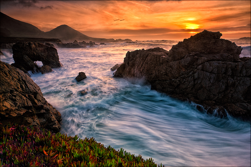 Winter sunset and waves, Garrapata State Park.