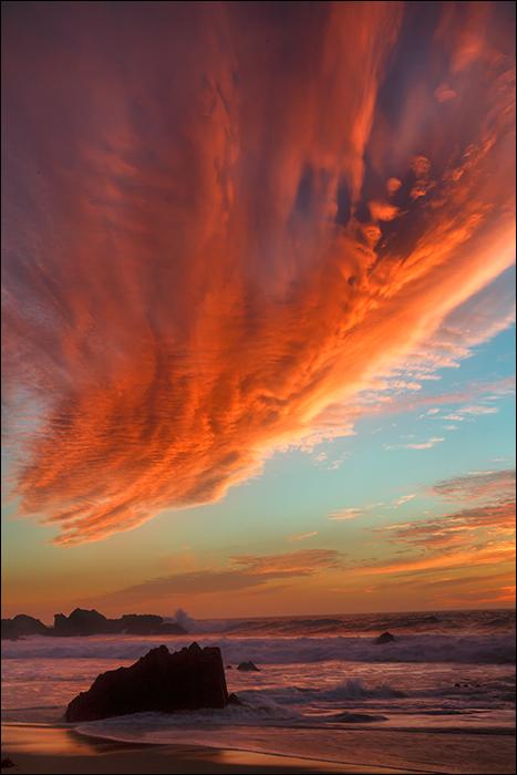 Winter sunset at Garrpata State Beach