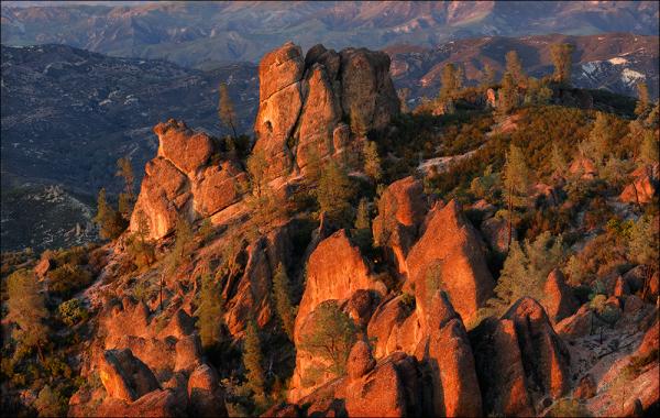 Last light on high peaks, Pinnacles National Park.