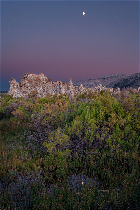 Moonrise over tufa towers, Mono Lake, California