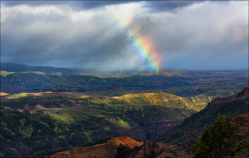 Rainbow and storm clouds, Waimea Canyon, Kauai
