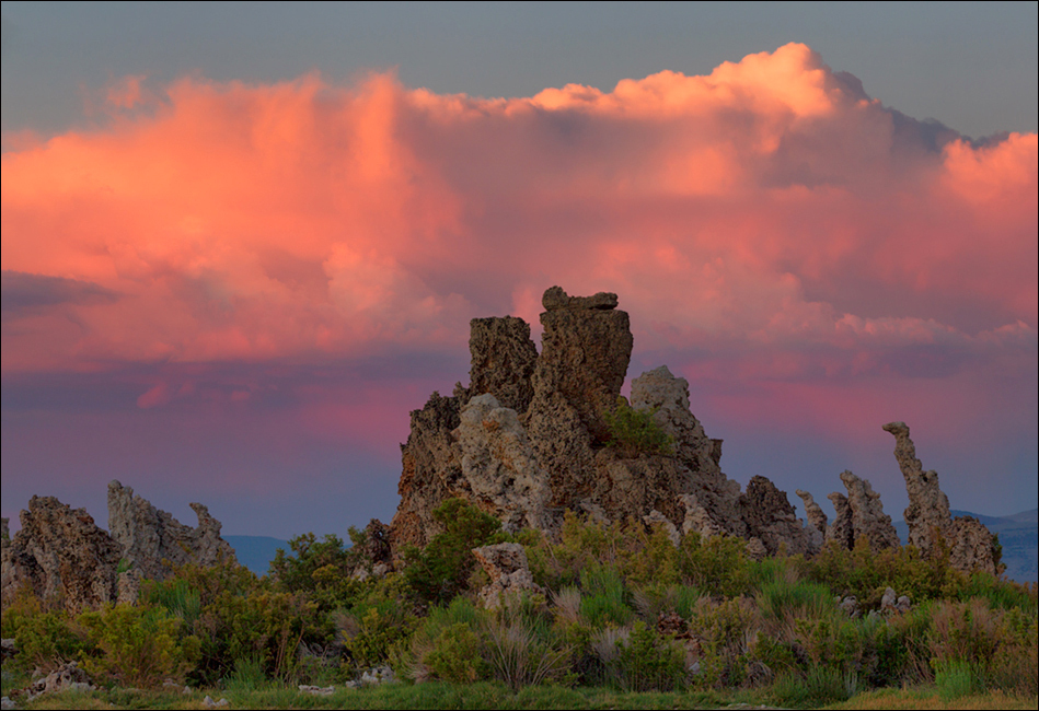 Mono Lake tufa and sunset sky.
