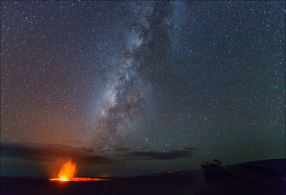 Kilauea caldera under Milky Way, Hawaii Volcanes