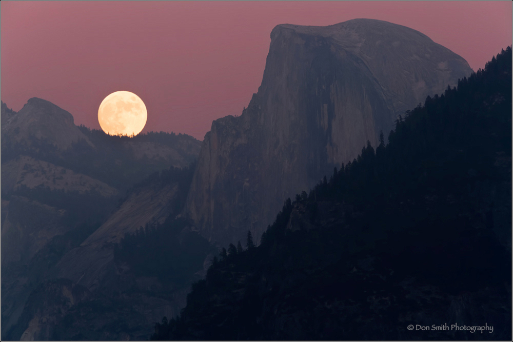 yosemite fall, moon, half dome, how-to