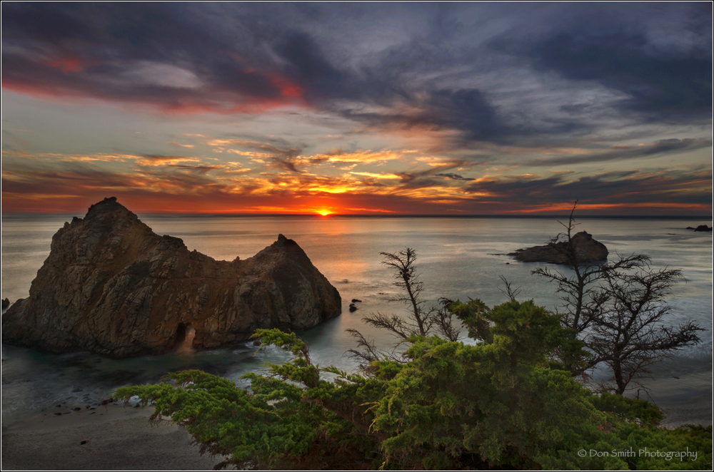 Sunset over Pfeiffer Beach and Arch, Big Sur, Ca.