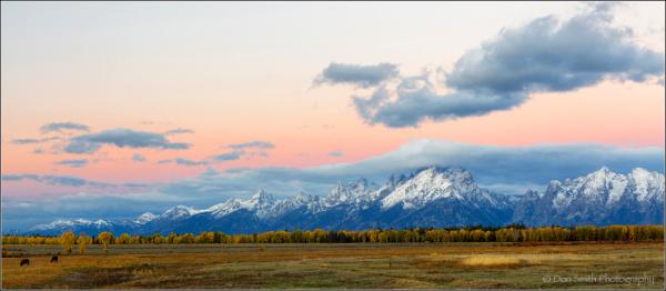 Dawn along Grand Teton Range.