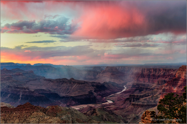 Rain squall near sunset, Grand Canyon NP