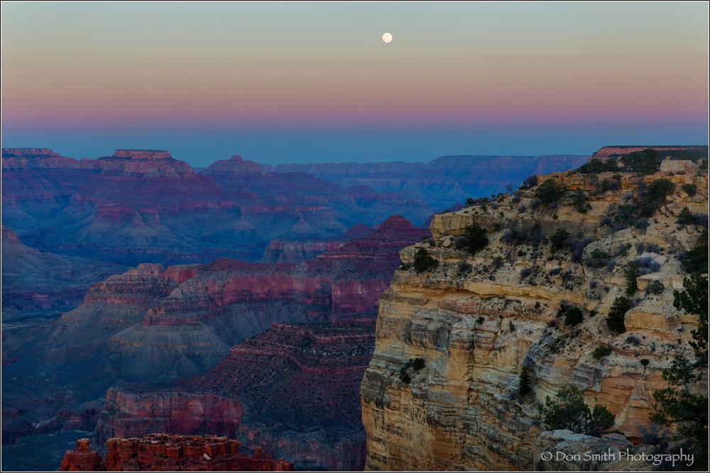 Grand Canyon, dusk, moonrise, Hopi Point