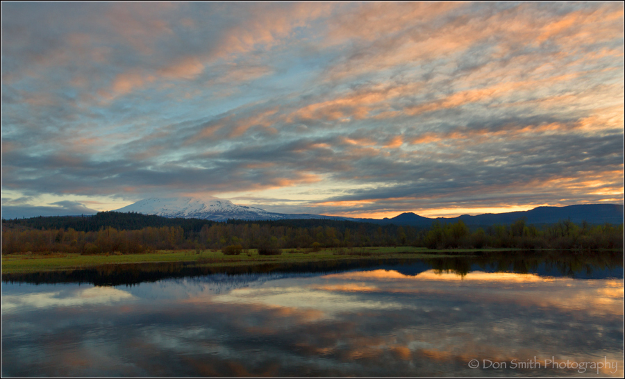 Dawn at Trout Lake With Mt. Adams, Washington