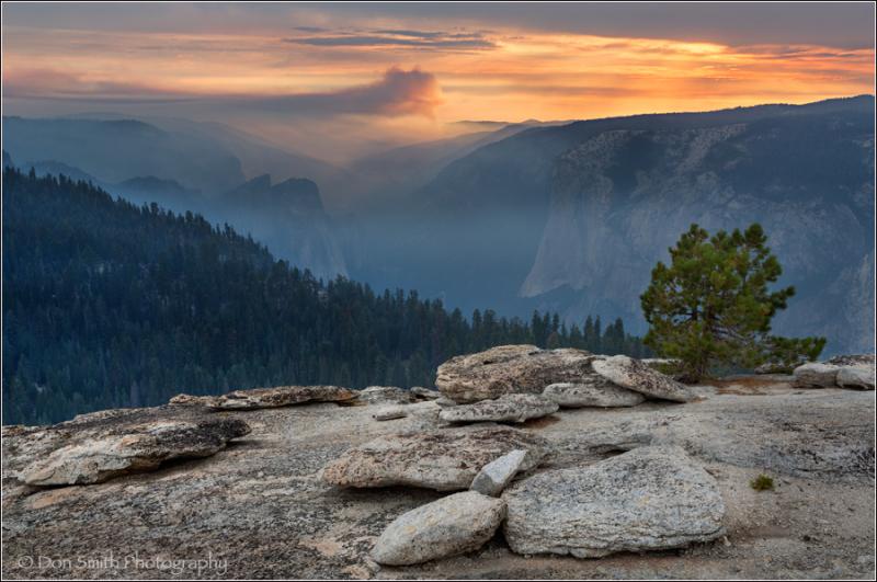 Smokey Sunset From Sentinel Dome, Yosemite NP