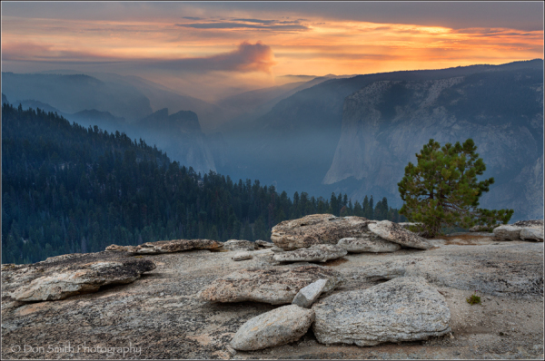 Smokey Sunset From Sentinel Dome, Yosemite NP