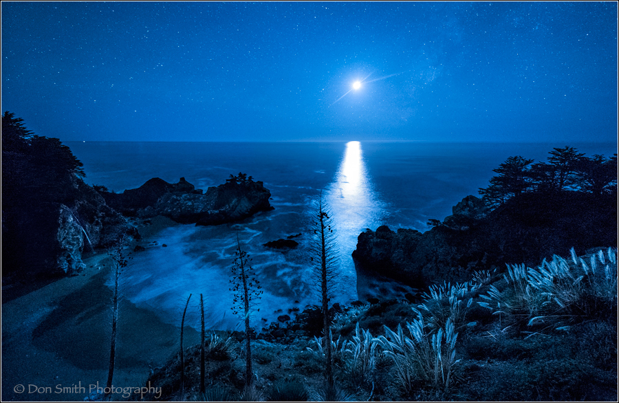 Moonset Over McWay Cove and Fall, Big Sur Coast
